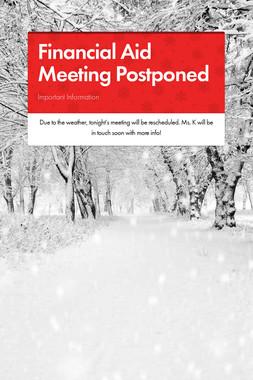 Financial Aid Meeting Postponed