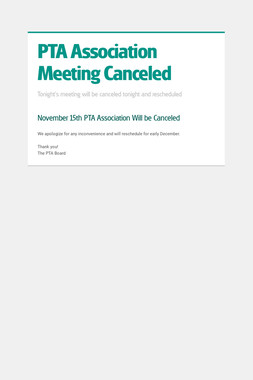 PTA Association Meeting Canceled