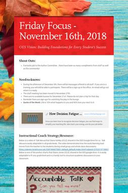 Friday Focus - November 16th, 2018