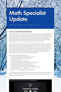 Math Specialist Update