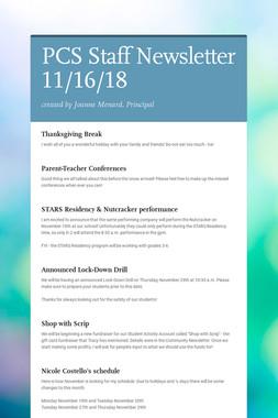 PCS Staff Newsletter 11/16/18