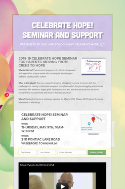 CELEBRATE HOPE! Seminar and Support