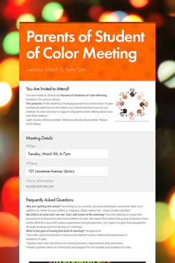 Parents of Student of Color Meeting
