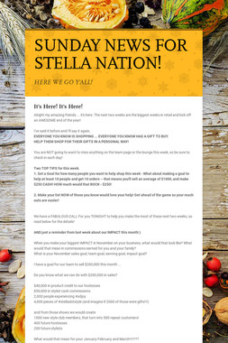 SUNDAY NEWS FOR STELLA NATION!