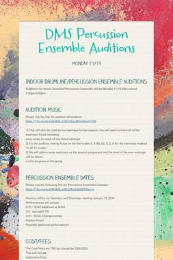 DMS Percussion Ensemble Auditions