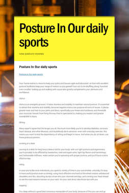 Posture In Our daily sports