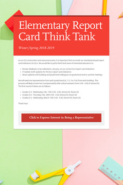 Elementary Report Card Think Tank