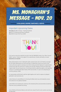 Ms. Monaghan's Message - Nov. 20