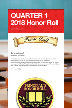 QUARTER 1 2018 Honor Roll