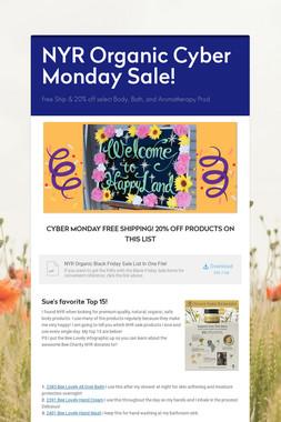 NYR Organic Cyber Monday Sale!