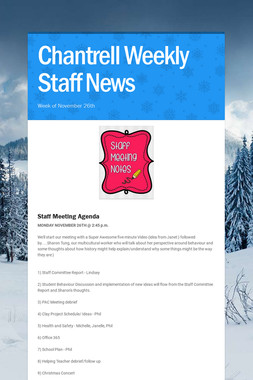 Chantrell Weekly Staff News