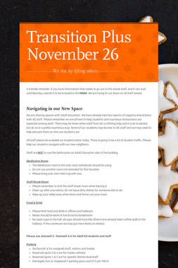 Transition Plus         November 26