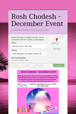 Rosh Chodesh - December Event