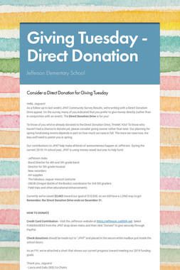 Giving Tuesday - Direct Donation