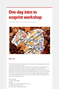 One day intro to ecoprint workshop