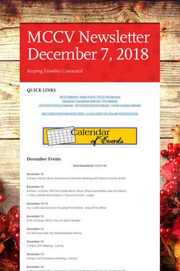 MCCV Newsletter December 7, 2018