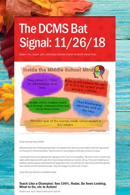 The DCMS Bat Signal: 11/26/18