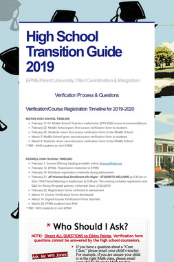 High School Transition Guide 2019