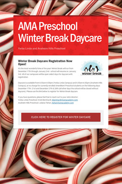 AMA Preschool Winter Break Daycare