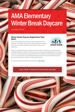AMA Elementary Winter Break Daycare