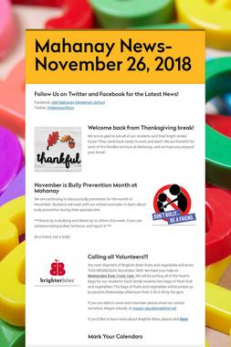 Mahanay News- November 26, 2018