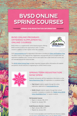 BVSD Online SPRING Courses
