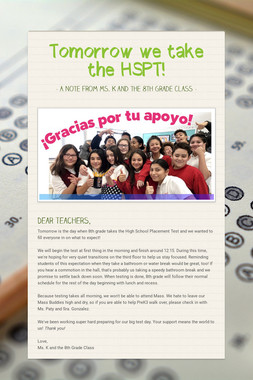 Tomorrow we take the HSPT!