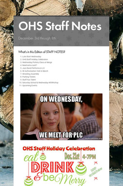 OHS Staff Notes