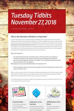 Tuesday Tidbits November 27,  2018