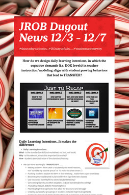 JROB Dugout News 12/3 - 12/7