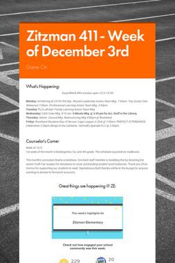 Zitzman 411- Week of December 3rd