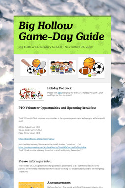 Big Hollow Game-Day Guide