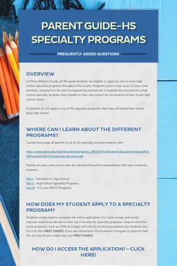 Parent Guide-HS Specialty Programs