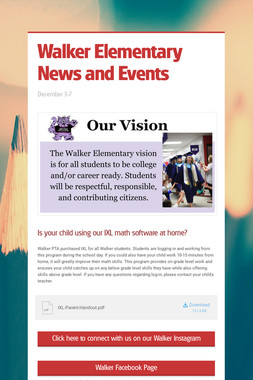 Walker Elementary News and Events
