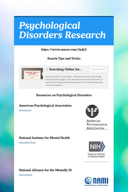 Psychological Disorders Research