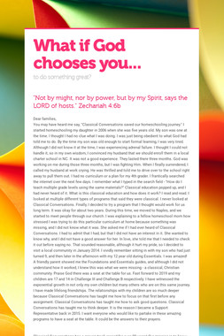 What if God chooses you...