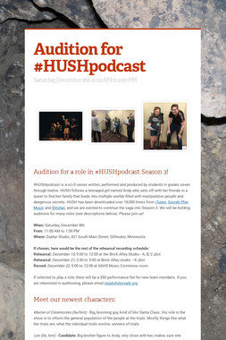 Audition for #HUSHpodcast