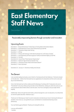 East Elementary Staff News