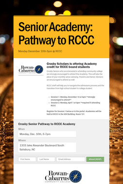 Senior Academy: Pathway to RCCC