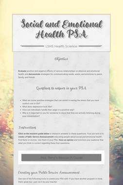 Social and Emotional Health PSA