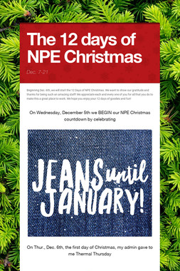 The 12 days of NPE Christmas
