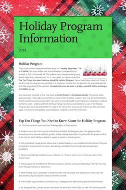 Holiday Program Information