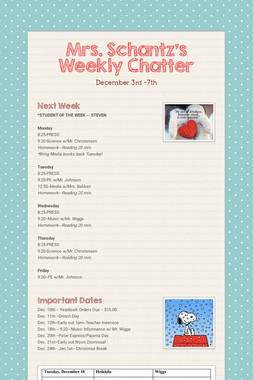 Mrs. Schantz's Weekly Chatter