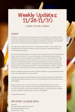 Weekly Updates: 11/26-11/30