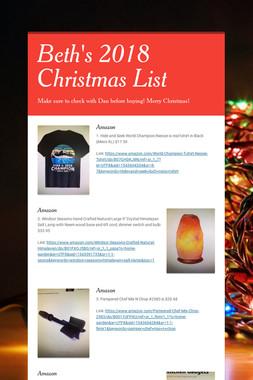 Beth's 2018 Christmas List