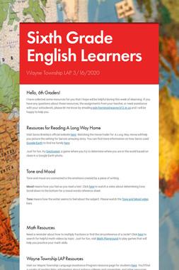 Sixth Grade English Learners