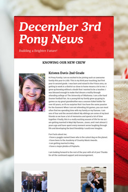 December 3rd Pony News