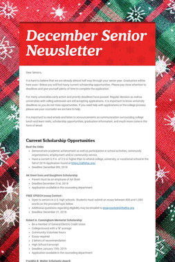 December Senior Newsletter
