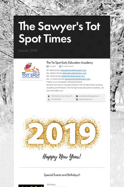 The Sawyer's Tot Spot Times