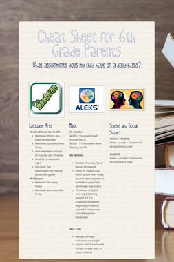 Cheat Sheet for 6th Grade Parents